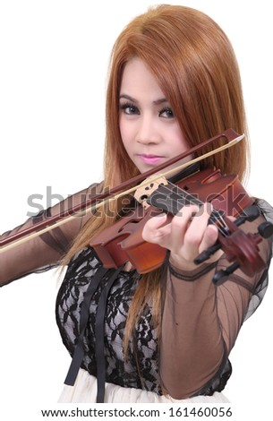 Image of asian woman play her violin on white background