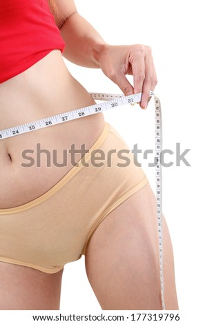 image of asian woman with measuring tape on white