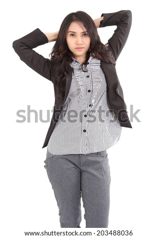 image of asian young woman and her fashion on white background