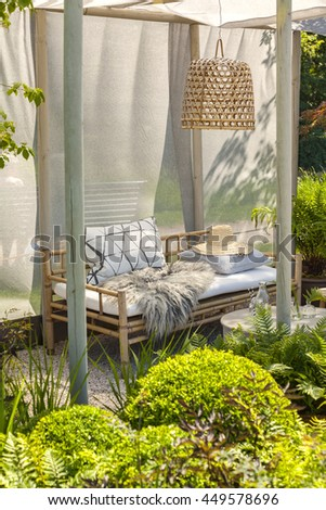 Image of bamboo garden furniture. - stock photo