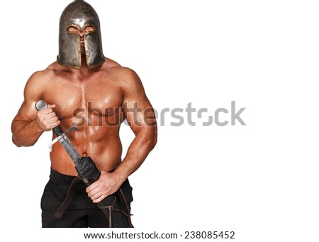 Image of barbarian with sword and with a grin on his face - stock photo