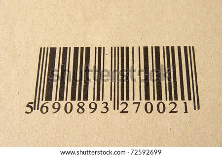 Image of barcode on cardboard - stock photo