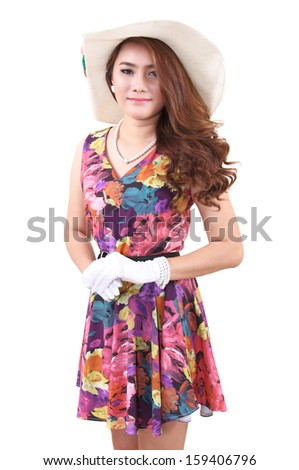 Image of beautiful asian woman in vintage dress on white background