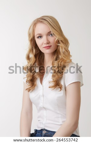 Image of beautiful blonde in casual clothes - stock photo