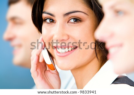 Image of beautiful business woman calling by mobile - stock photo