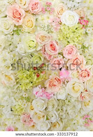 image of beautiful flowers wall  - stock photo