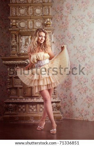 Image of beautiful, luxury romantic girl fashion model - stock photo