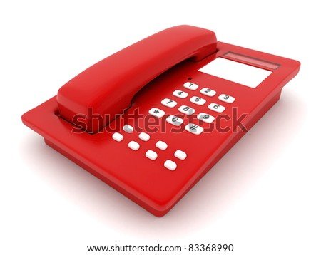 image of beautiful, red phone on a white background - stock photo
