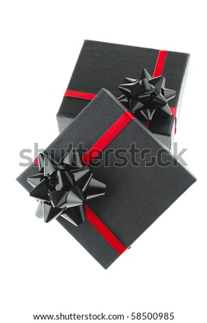 image of black box with red type - stock photo