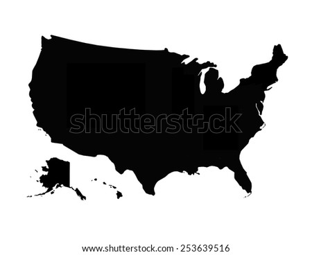 image of black map of United States of America - stock photo