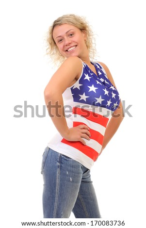image of blonde woman wearing American Flag t-shirt
