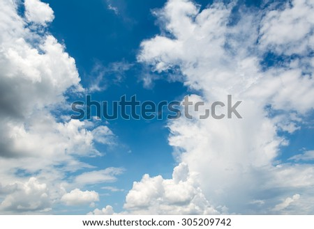 image of blue sky with white cloud for background usage.
