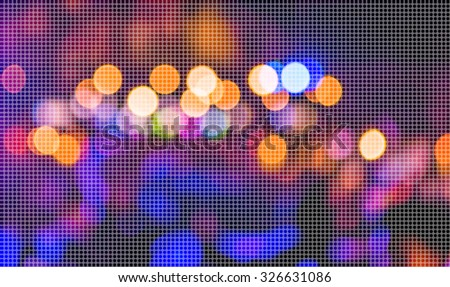 image of blurred bokeh background with warm colorful lights.(dot Pattern Pixelation effect image)