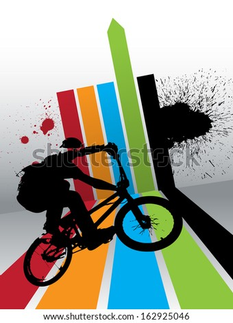 image of BMX cyclist  - stock photo