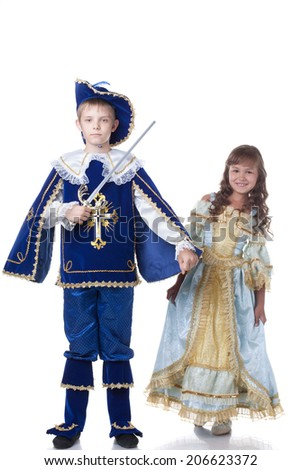 Image of brave musketeer and charming Cinderella - stock photo