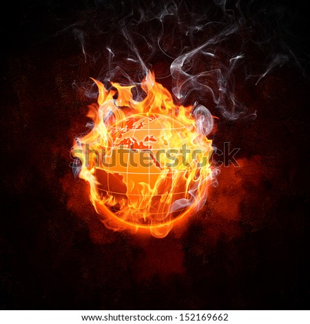 Image of burning globe in fire flames. Earth in danger - stock photo