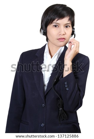 Image of business asian woman with headphones on white background