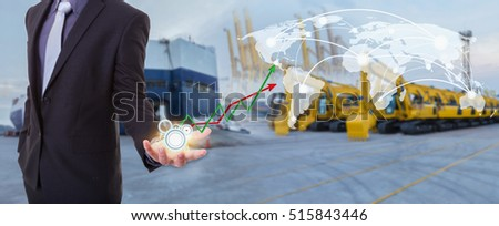 Image of business concept on management bring to be global network coverage world map , Logistics Import Export Tracts vehicle at harbor background (Elements of this image furnished by NASA)