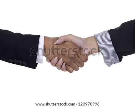 Image of business handshake against white background
