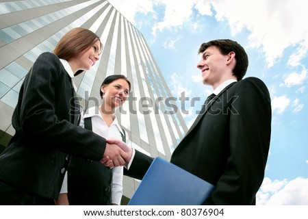 Image of business partners making an agreement - stock photo