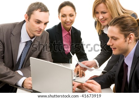 Image of business people communicating at working meeting - stock photo