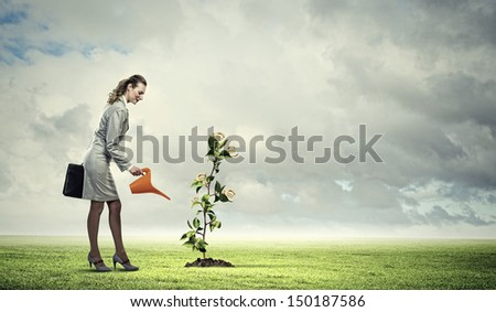 Image of business woman watering money tree. Currency concept - stock photo
