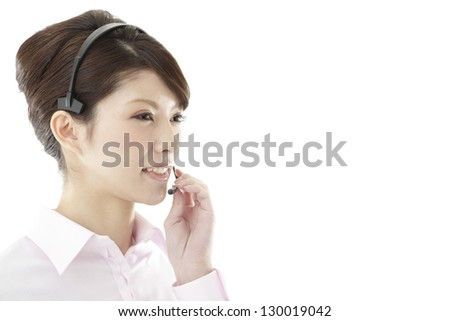 Image of business woman, white back - stock photo