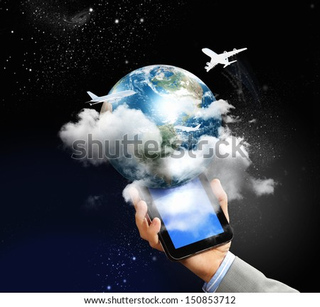 Image of businessman hands touching pad with virtual illustration - stock photo