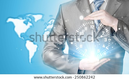 Image of businessman holding clock against illustration background