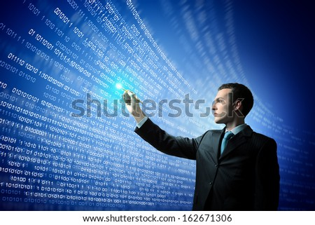 Image of businessman pressing icon of media screen. Innovations - stock photo