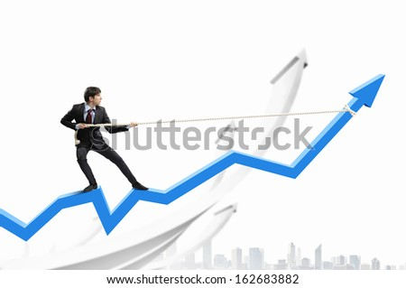 Image of businessman standing on graph and pulling it upwards - stock photo