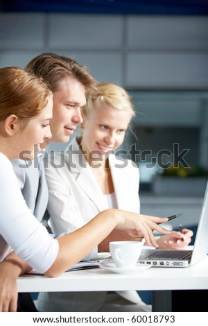 Image of businesspeople discussing new project or plan at meeting - stock photo