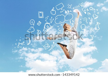 Image of businesswoman in jump against clouds background - stock photo