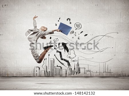 Image of businesswoman in jump against sketch background - stock photo