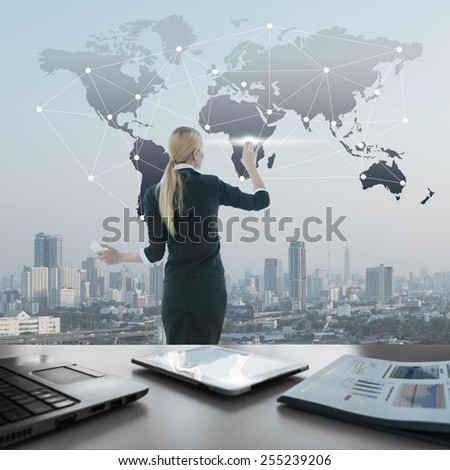 Image of businesswoman pushing icon on media screen, business globalization concept - stock photo