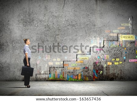 Image of businesswoman with suitcase. Promotion concept - stock photo