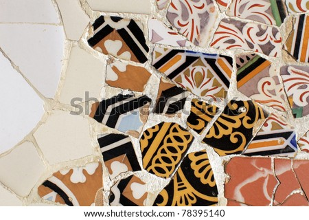 image of ceramic tiles in the gaudi designed parc guell, barcelona, spain - stock photo