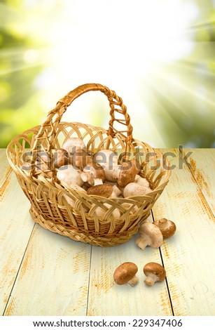 image of champignons in basket closeup - stock photo