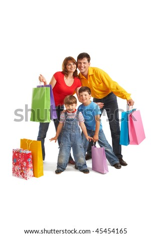 Image of cheerful family members standing next to each other with happy expression