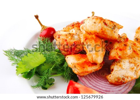 image of chicken meat and vegetables on plate - stock photo