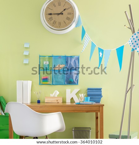 Image of child study area with new design furniture - stock photo