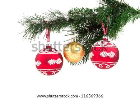 Image of christmas balls on christmas tree isolated - stock photo