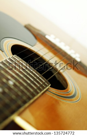 Image of classic guitar with shallow depth of field