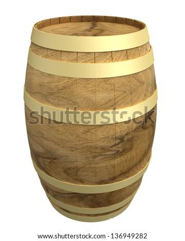 image of classic wood barrel on white background - stock photo
