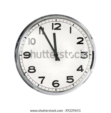 Image of clock isolated on white background - stock photo