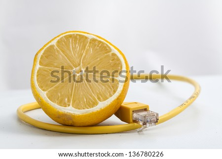 Image of coffee cup Ethernet connected - stock photo