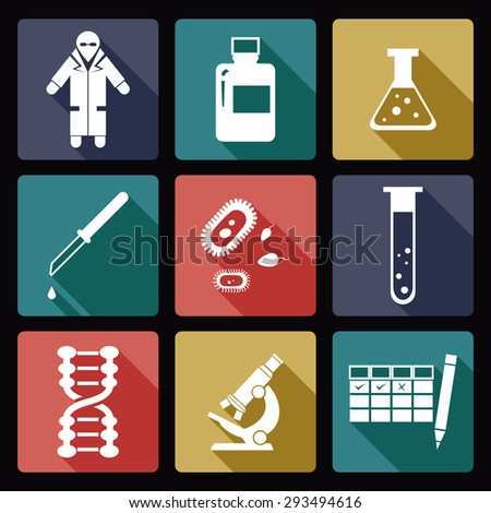 Image of collection of biology icons - stock photo