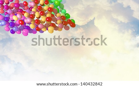 Image of colorful balloons flying in sky - stock photo