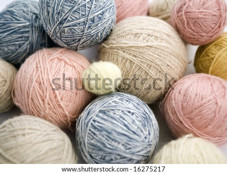 image of colorful different thread knit balls - stock photo