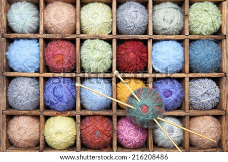 Image of colorful wool and mohair yarns. - stock photo
